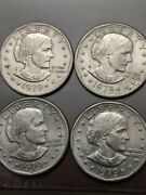 Lot Of 4 1979 -d Susan B Anthony One Dollar Coins Circulated Uncertified