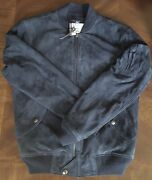 Polo Mens Aviator Navy Leather Suede Zip Bomber Jacket S M L Xl 2xl
