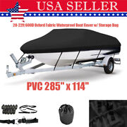 20-22ft 600d Oxford Fabric Waterproof Boat Cover W/ Storage Bag Pvc 285 X 114