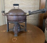 Joseph Heinrichs 1904 Pat'd Hammered Copper Chafing Dish Brazier Arts And Crafts