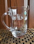 Lenox Fine Crystal Glass Watcher Pitcher Etched Kitty Cats 7 Retired