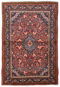 Vintage Floral Oriental Jozan Rug 3and039x5and039 Red Hand-knotted Wool Pile