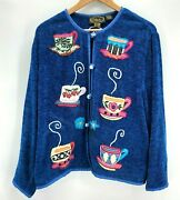 Vintage Alex Kim Cardigan Sweater Size Large Embroidered Coffee Glass Buttons