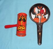 Vintage Halloween Noisemaker Lot X2 T. Cohn Witch/pumpkins And Kirchhof Witch Cat