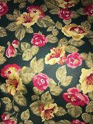 Fabric Polished Cotton Pink Yellow Green Floral Print . 8 Yd X 45