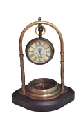 Antique Vintage Nautical Brass Table Top Clock For Home And Office Decor 4 Inch