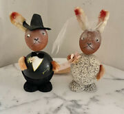 Vintage Bride And Groom Easter Bunny Rabbit Candy Containers Germany