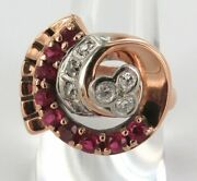 .avant-garde Retro Large 14ct Rose Gold, Diamond And Synthetic Ruby Ring Val 3950