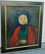 Colorful French Old Master Antique 18th Century Oil Painting Portrait Woman Book