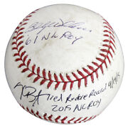 Cubs Kris Bryant And Billy Williams Nl Roy Signed Game Used Oml Baseball Mlb