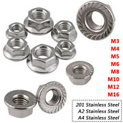 M3 M4 M5 M6 M8 M10 M12 M16 Hex Serrated Flang Nuts Din6923 A2 A4 Stainless Steel