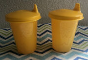 Tupperware Set Of Two Bell Tumbler Sippy Cups 7oz Yellow New