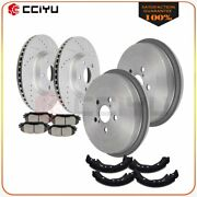 For 09 10 11-15 Toyota Corolla Front Brake Rotors Ceramic Pads And Rear Drum Shoes