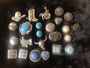Vintage Western Button Covers Silver Tone And Faux Turquoise 24