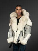 Grey Shearling Jackets With Fox Fur Collar And Hood For Stylish Men