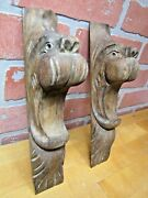 Antique Wood Hand Carved Beast Monster Heads Architectural Hardware Elements