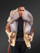 Menand039s Shearling Biker With Crystal Fox Collar And Hood In Cognaic