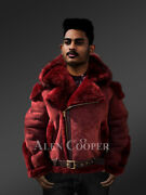 Menandrsquos Lambskin Jacket With Fox Fur Hood And Leather Belt