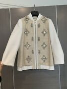 Exquisite Ted Baker Cream Tweed Bomber Jacket With Crystals Size 1 S