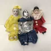 Lot Of 3 Vintage Collectible Clown Dolls Porcelain Head Small