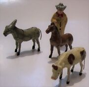 4 Antique Putz Germany Stick Wood Composition Holiday Toy Farm Animals Man