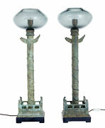 Pair Of Decorative Bronze And Glass Hall Lamps