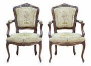 Pair Of 19th Century French Fauteuil Walnut Armchairs
