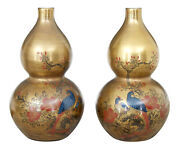 Pair Of 1920and039s Chinese Republic Hand Decorated Porcelain Vases