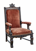 19th Century Victorian Carved Oak Throne Chair