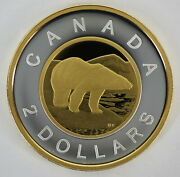 Canada 2021 2 Gold Plated 99.99 Proof Silver Toonie Heavy Cameo Coin
