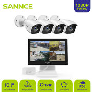 Sannce 4ch 1080p 10.1 Monitor Dvr 2mp Exir Security Camera System Remote Access