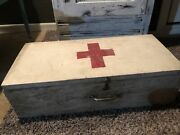 Rare Vintage First Aid Wood Box Case Medical Supplies From Wwii W/ Supplies