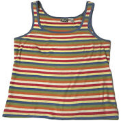 Alpine Design Women's Xl Stripped Tank Top Knit T Shirt Red Blue Colorful Faded