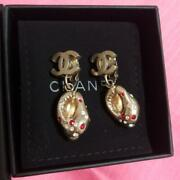 Coco Mark Earrings Gold Rhinestone Pink Accessories Jewelry Vintage