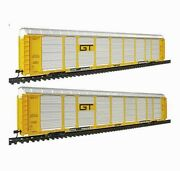 Walthers 932-24880 Gold Line Thrall 89' Tri-level Auto Carrier 2-pack Gtw Yellow