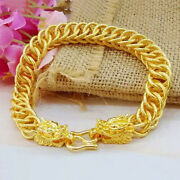 24k Yellow Gold Mens 10mm Wide Link Chain Dragon Bracelet W Gift Pg D884