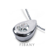 0.33ct E Si1 Round Natural Certified Diamond 14k White Gold Solitaire Pendant