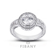 0.88ct G/si3 Round Natural Diamonds 14kw Gold Vintage Style Side Stone Ring
