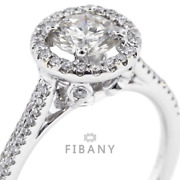 0.98ct G/si1 Round Natural Certified Diamonds 18k White Gold Halo Accent Ring
