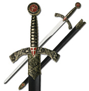 Medieval Sword 42 Overall Stainless Steel Cast Metal Handle Leather Scabbard