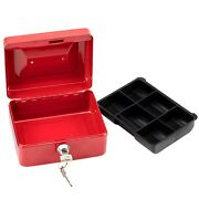 Stainless Steel Petty Cash Box Lock Bank Deposit Safe Key Security Tray Portable