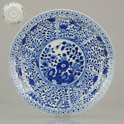 Perfect Large Antique 19c Chinese Porcelain Plate Blue White Flowers Birds