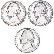 1988 P D S Jefferson Nickel Year Set Proof And Bu Us 3 Coin Lot