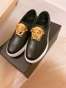 Versace Medusa Slip-on Sheakers Black Gold Fashion Accessories Collection New