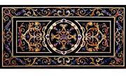 5and039x2.5and039 Black Marble Table Top Pietra Dura Stones Inlay Art Furniture Home Decor
