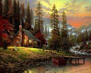 Dream Countryside Cottage House Lake Mountains Painting Paint By Numbers Kit Diy