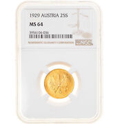 [906151] Coin Austria 25 Schilling 1929 Ngc Ms64 Ms64 Gold Km2841