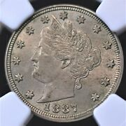 1887 Liberty V Nickel Ngc Ms 62 Lustrous Light Silvery Pewter And Quite Scarce
