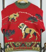 Willis And Geiger Size Small Serengeti Sweater Wool Crew Neck Lion Monkey Mens Red