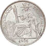 [905568] Coin, French Indo-china, 50 Cents, 1936, Paris, Ms, Silver, Km4a.2